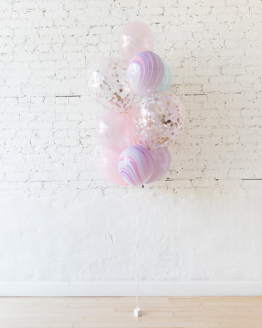 Unicorn Theme - Confetti and 11in Balloons - bouquet of 10