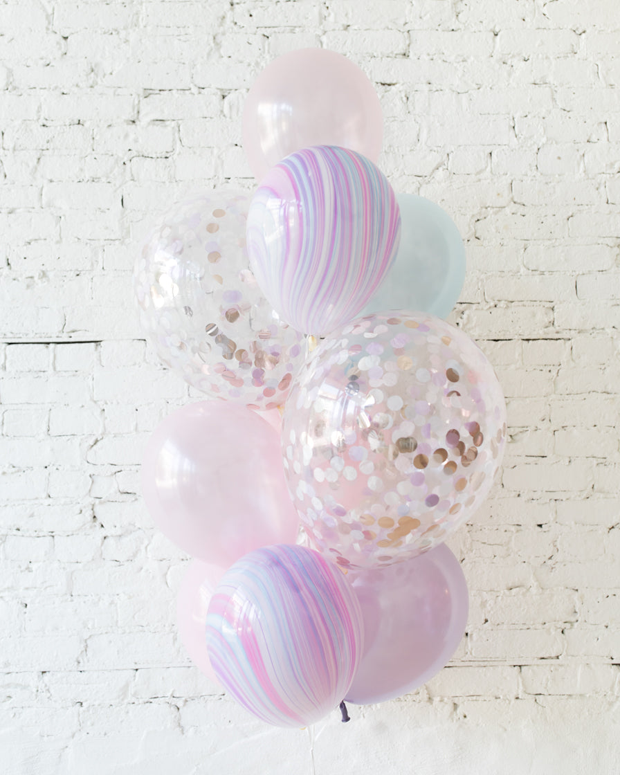 Unicorn Theme Confetti and 11in Balloons - bouquet of 10