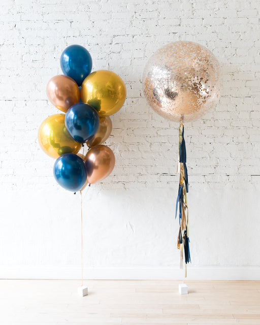 Gold, Navy and Copper Palette Confetti Giant & Orbs and 11in bouquet set