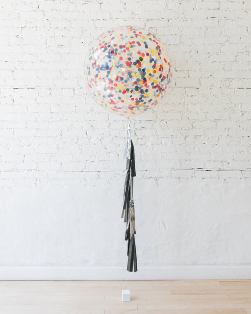 Superhero Theme Confetti Giant Balloon and Silver and Black Tassel