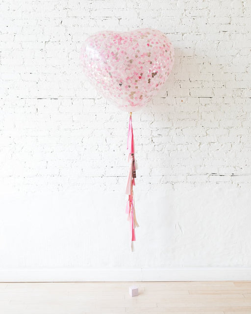 Shades of Pink Palette Confetti Giant Heart Balloon and Tassel