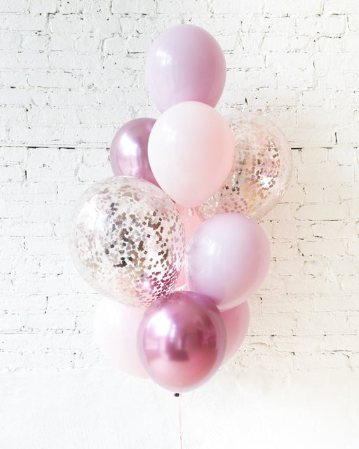 GIFT-Shades of Mauve Palette Confetti and 11in Balloons - bouquet of 10