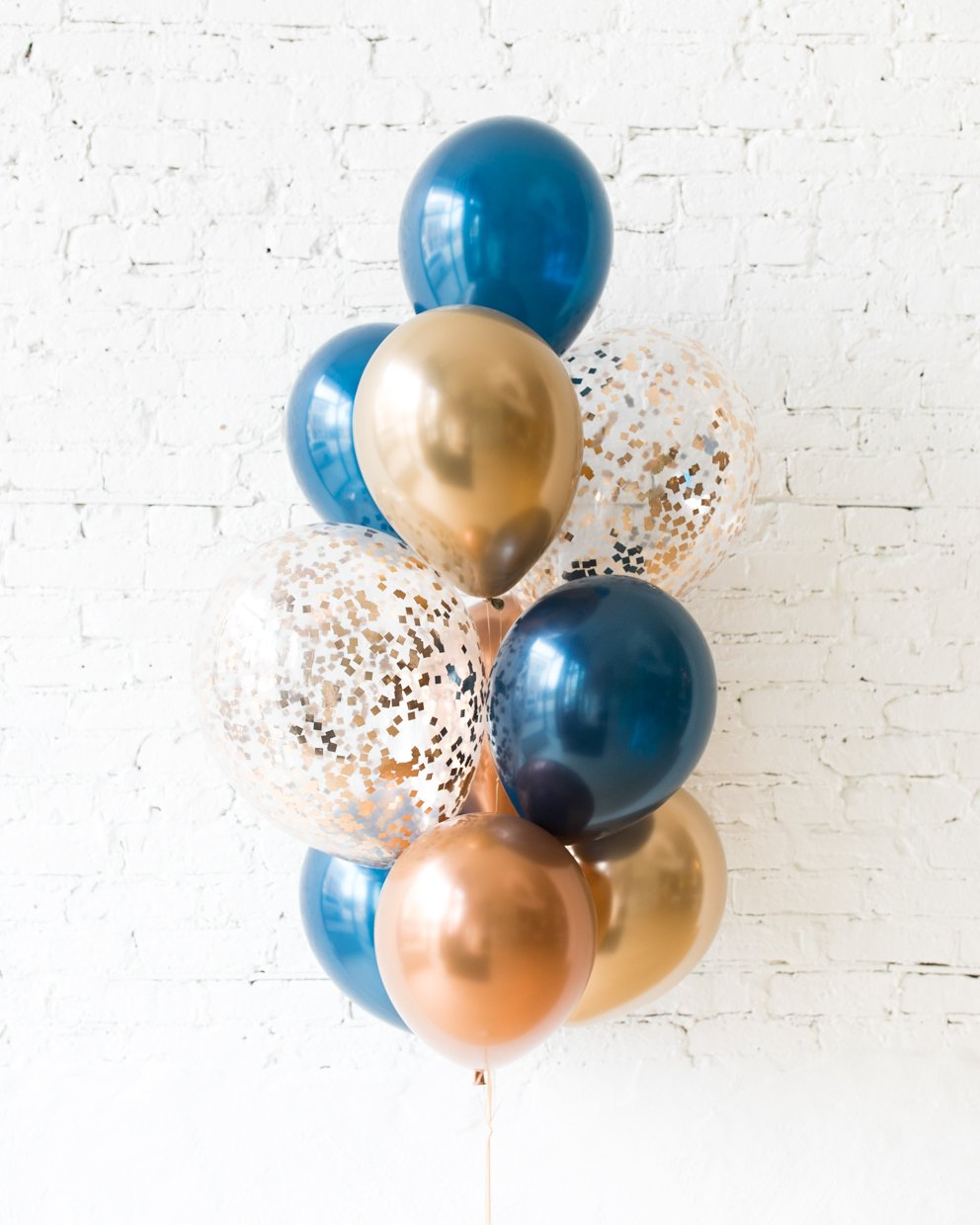 GIFT-Gold, Navy and Copper Palette Confetti and 11in Balloons - bouquet of 10