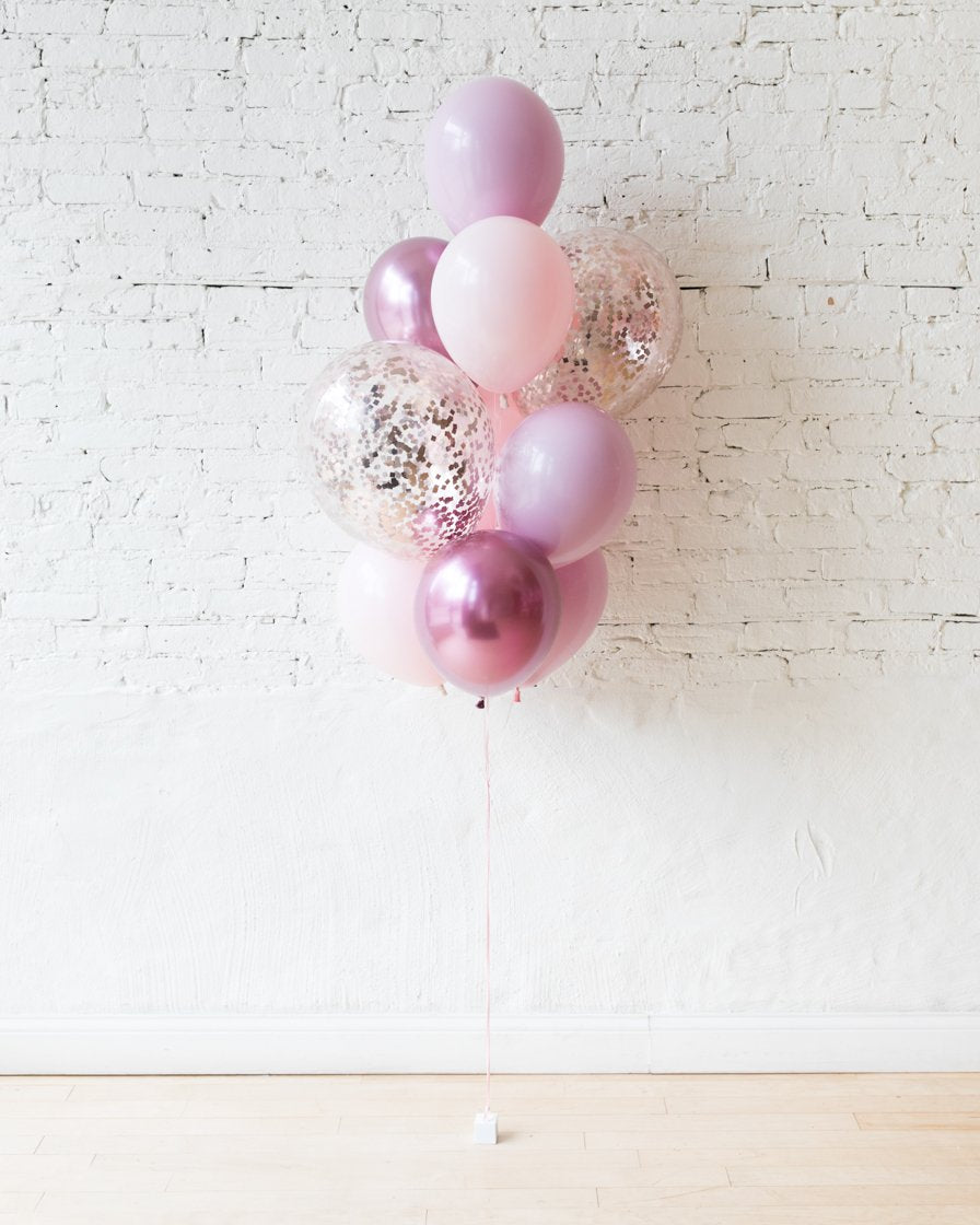 Modern Mauve - Confetti and 11in Balloons - bouquet of 10