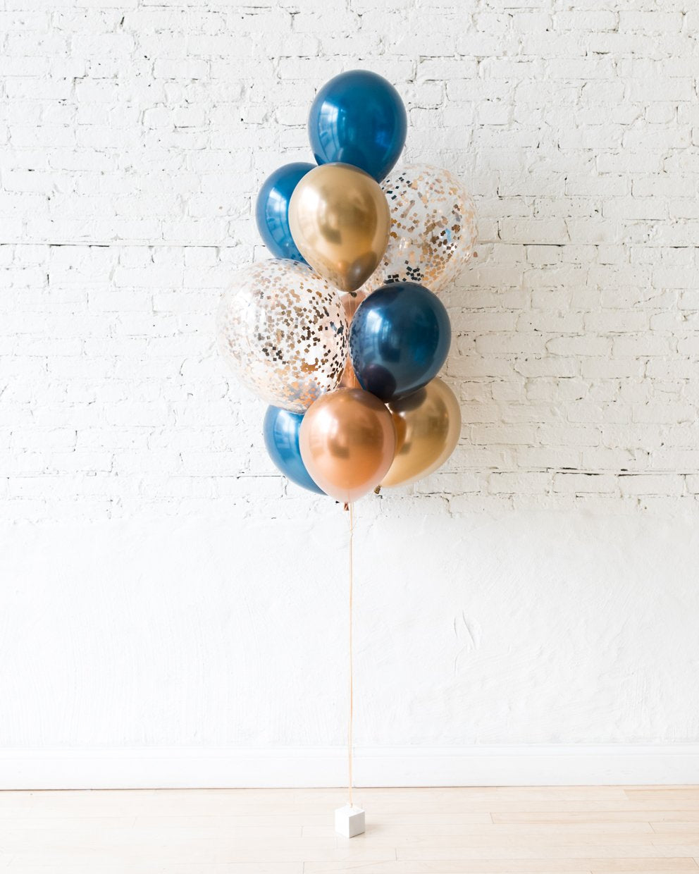 Gold, Navy and Copper Palette Confetti and 11in Balloons - bouquet of 10