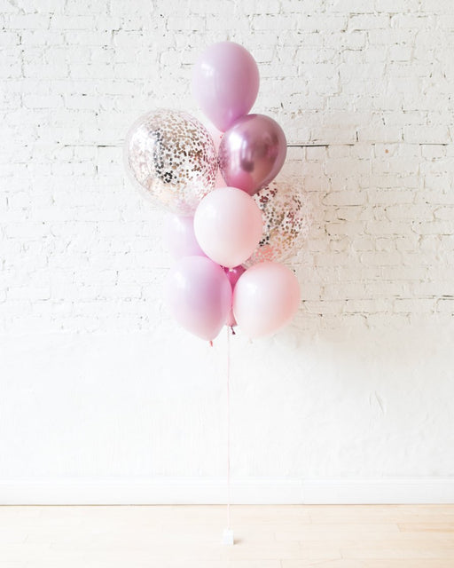 Shades of Mauve Palette Confetti and 11in Balloons - bouquet of 10