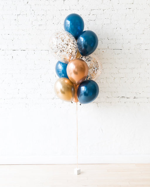 Midnight Copper - Confetti and 11in Balloons - bouquet of 10