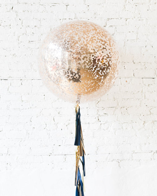 Midnight Copper - Confetti Giant Balloon with Tassel