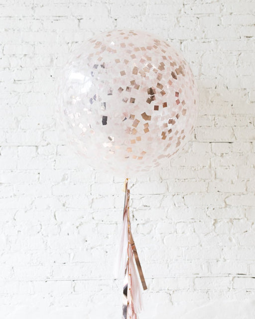 Rose Gold Confetti Giant Balloon and Shades of Mauve Tassel