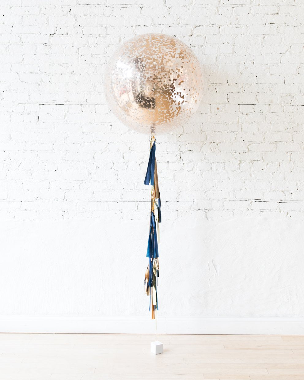 Copper Confetti Giant Balloon and Gold, Navy and Copper Tassel