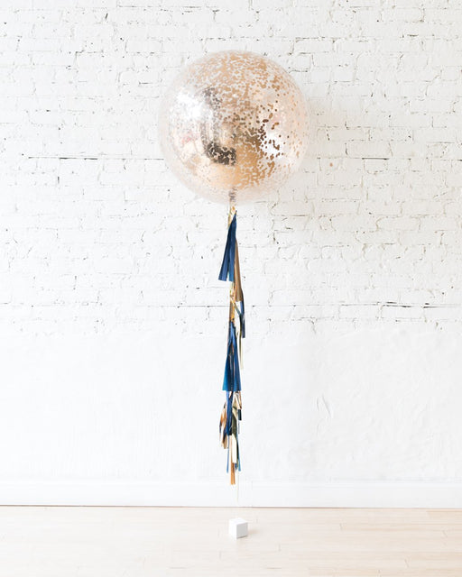 GIFT-Copper Confetti Giant Balloon and Gold, Navy & Copper Tassel