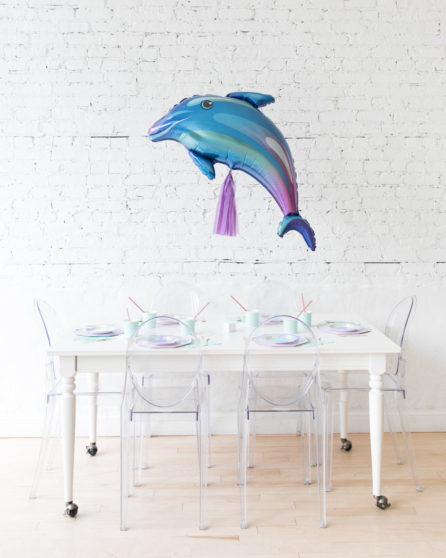 42in Dolphin Foil Balloon and Lavender Skirt Centerpiece