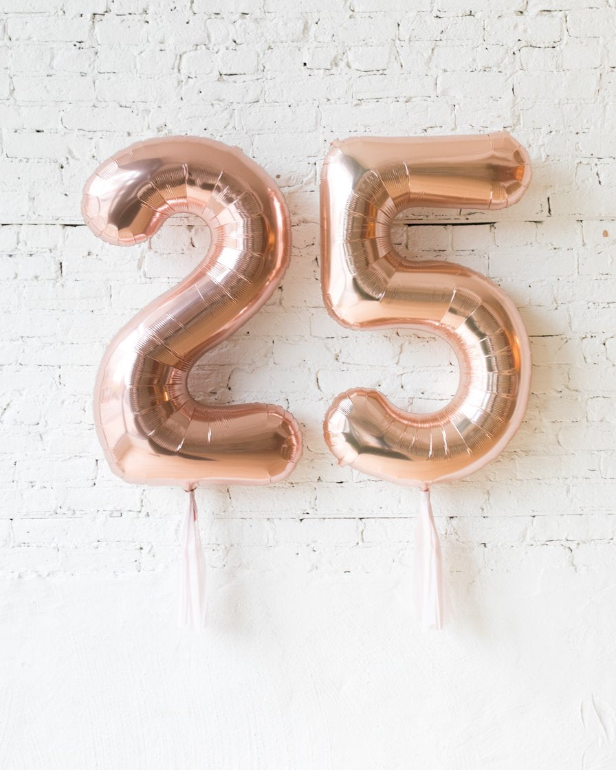 Custom 34in Rose Gold Foil Numbers with Mauve Skirt