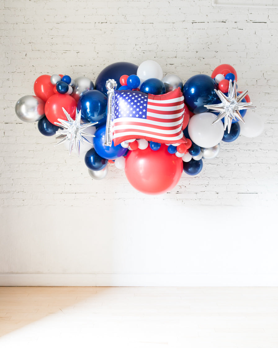Outdoor Flag And Star Red White Blue Palette Balloon Garland Paris312
