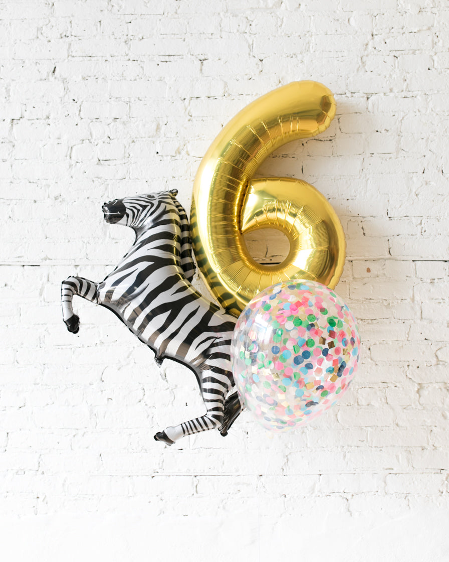 GIFT-Party Animal Theme Number Birthday Bouquet