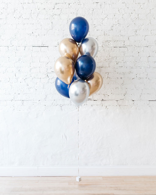 GIFT-Navy, Gold & Silver Palette 11in Balloonss - bouquet of 10