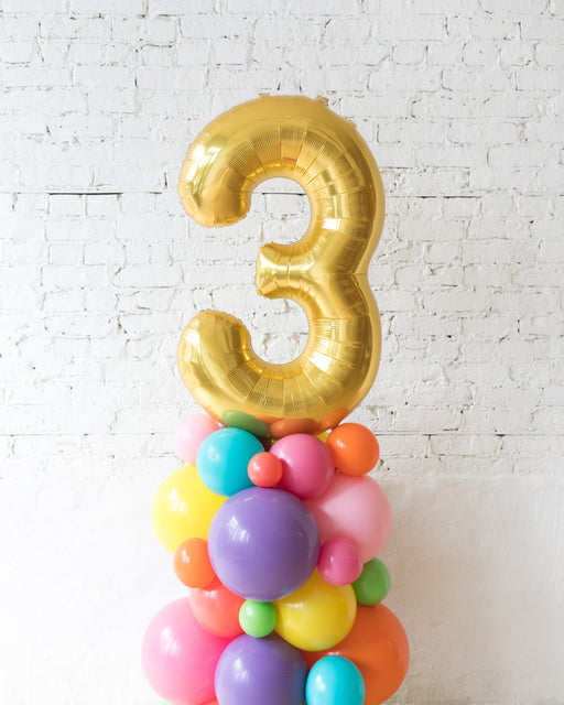 Fiesta Theme - Customizable Number Balloon Column - 4FT