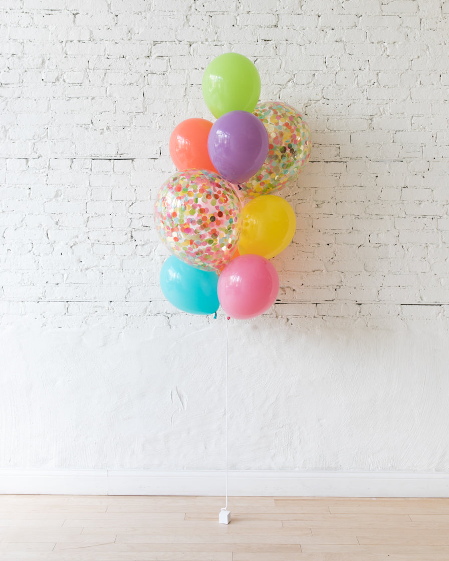 Fiesta Theme - Confetti and 11in Balloons - bouquet of 10