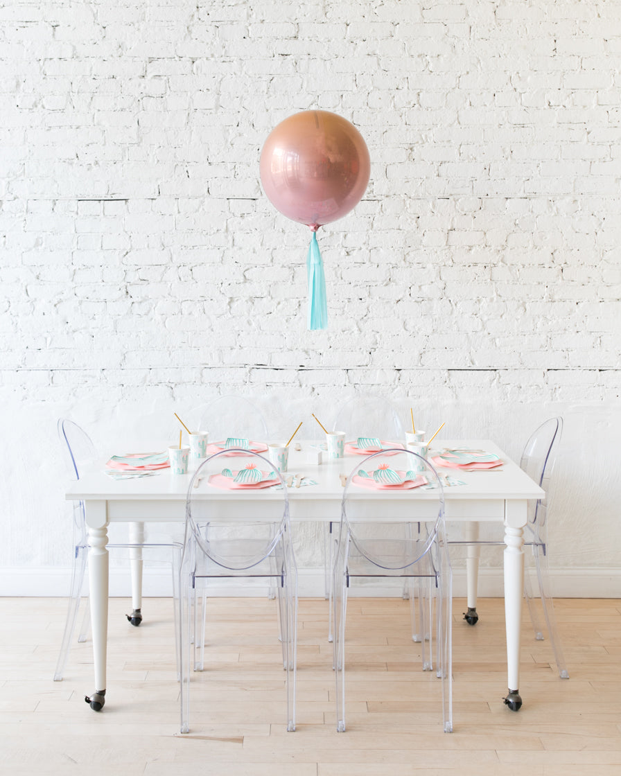 16in Red Orange Ombre Orb Balloon with Mint Skirt Centerpiece