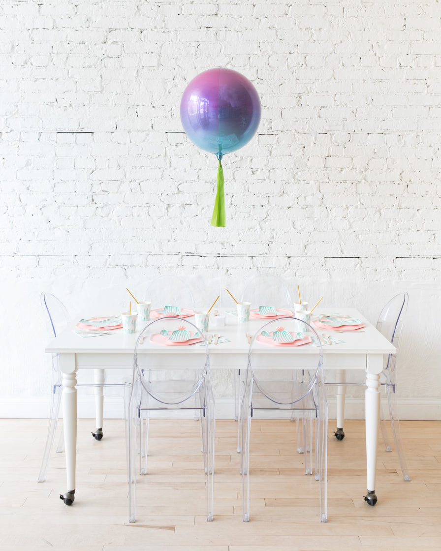 16in Pink, Purple & Blue Ombre Orb Balloon with Green Skirt Centerpiece