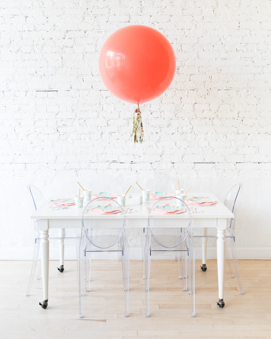 Coral Giant Balloon with Gold Skirt Centerpiece