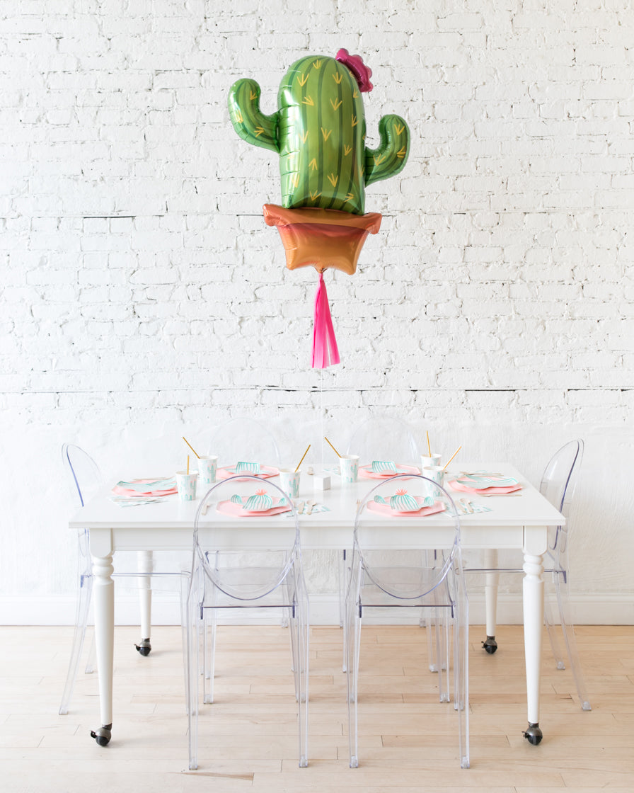 39in Cactus Foil Balloon with Bright Pink Skirt Centerpiece