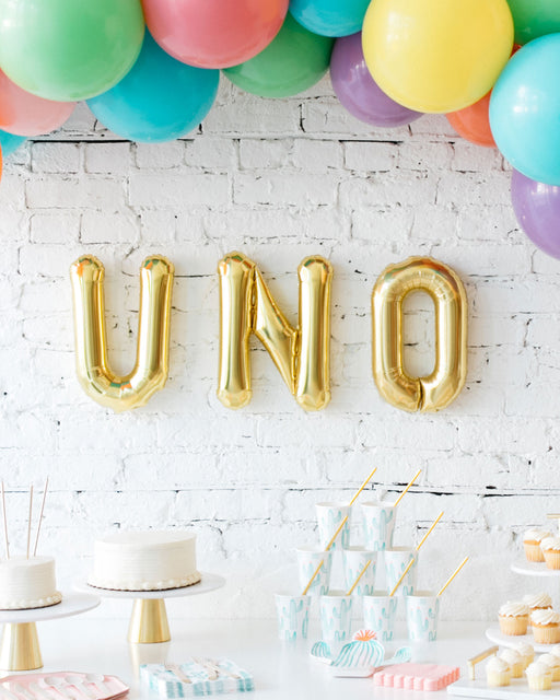 16in Gold UNO Foil Letters Set