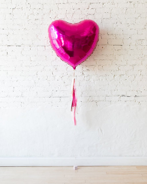 GIFT-36in Magenta Heart Foil Balloon and Shades of Pink Half-Tassel