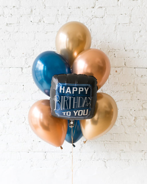 Midnight Copper - Happy Birthday To You Foil and 11in Balloons - bouquet of 7