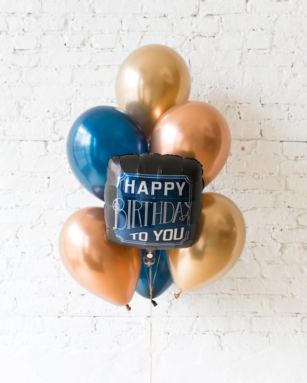 Gold, Navy and Copper Happy Birthday To You Foil and 11in balloons - bouquet of 7