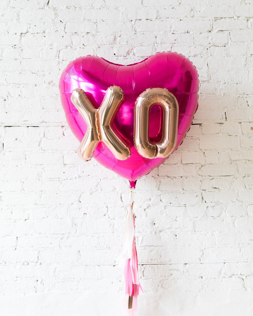 36in XO Magenta Heart Foil Balloon and Shades of Pink Palette Half-Tassel