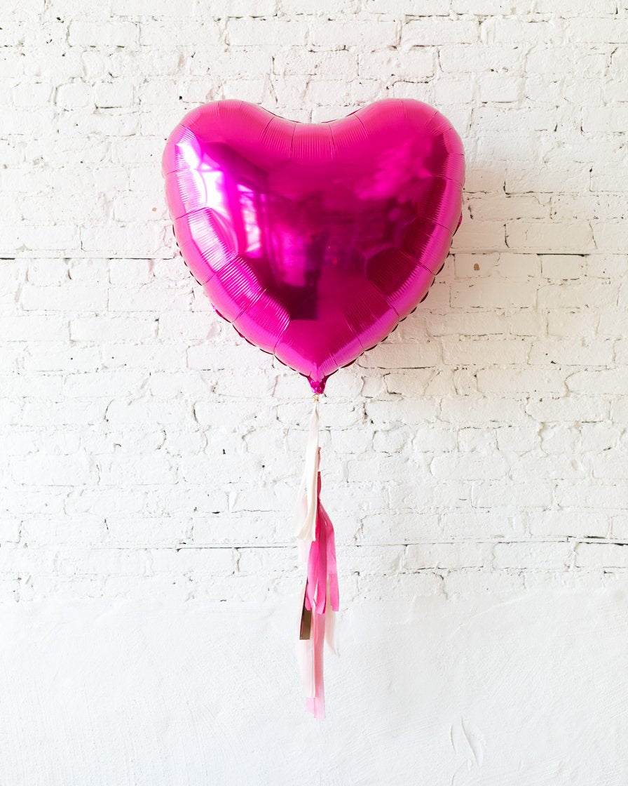 36in Magenta Heart Foil Balloon and Shades of Pink Palette Half-Tassel
