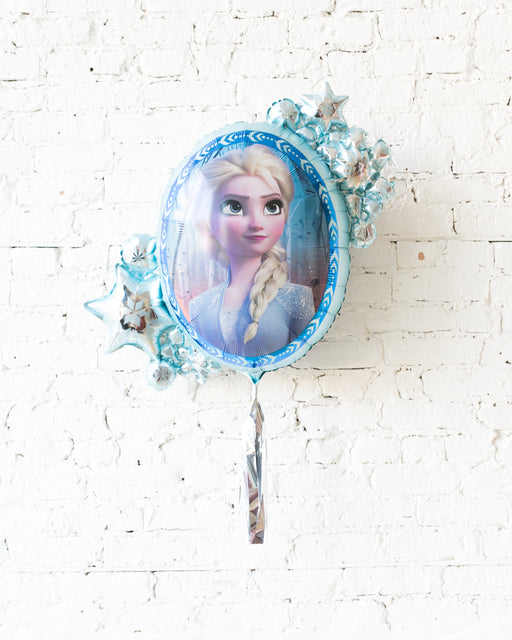 GIFT-26in Elsa/Anna Double-Sided Frozen 2 Theme Foil Balloon with Silver Skirt