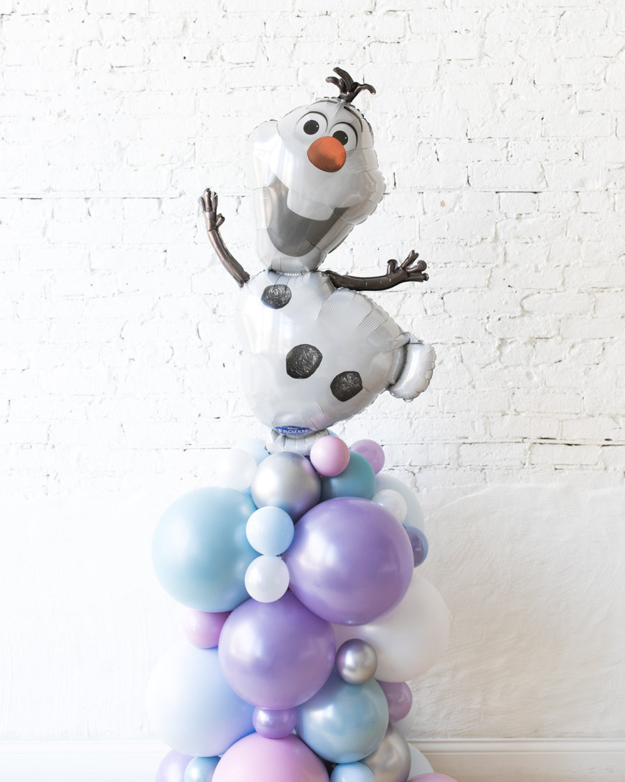 Frozen Theme - Olaf Foil Balloon Column - 4ft