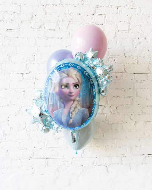 Frozen Theme - ELSA Snowflake Foil and 11in Balloons - bouquet of 4