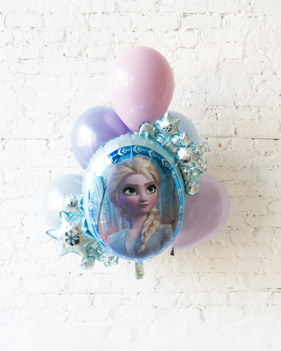 Frozen Theme - ELSA Snowflake Foil and 11in Balloons - bouquet of 7