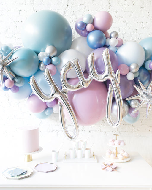Frozen Theme - Yay Script Backdrop Balloon Garland Install Piece - 6ft