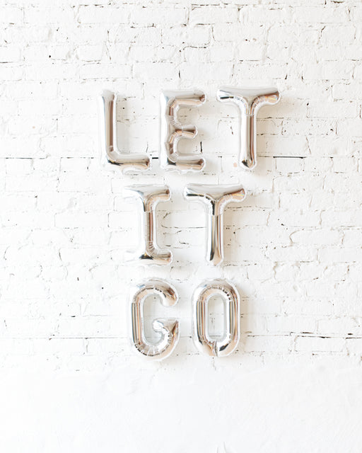 16in Silver LET IT GO Foil Letters Set