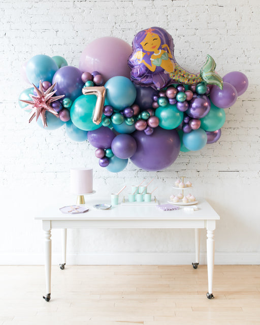 Mermaid Theme - Mermaid Backdrop Balloon Garland Install Piece - 6ft