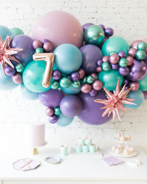 Mermaid Theme - Number Backdrop Balloon Garland Install Piece