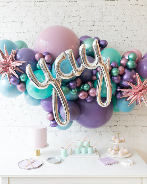 Mermaid Theme - Yay Script Backdrop Balloon Garland Install Piece - 6ft