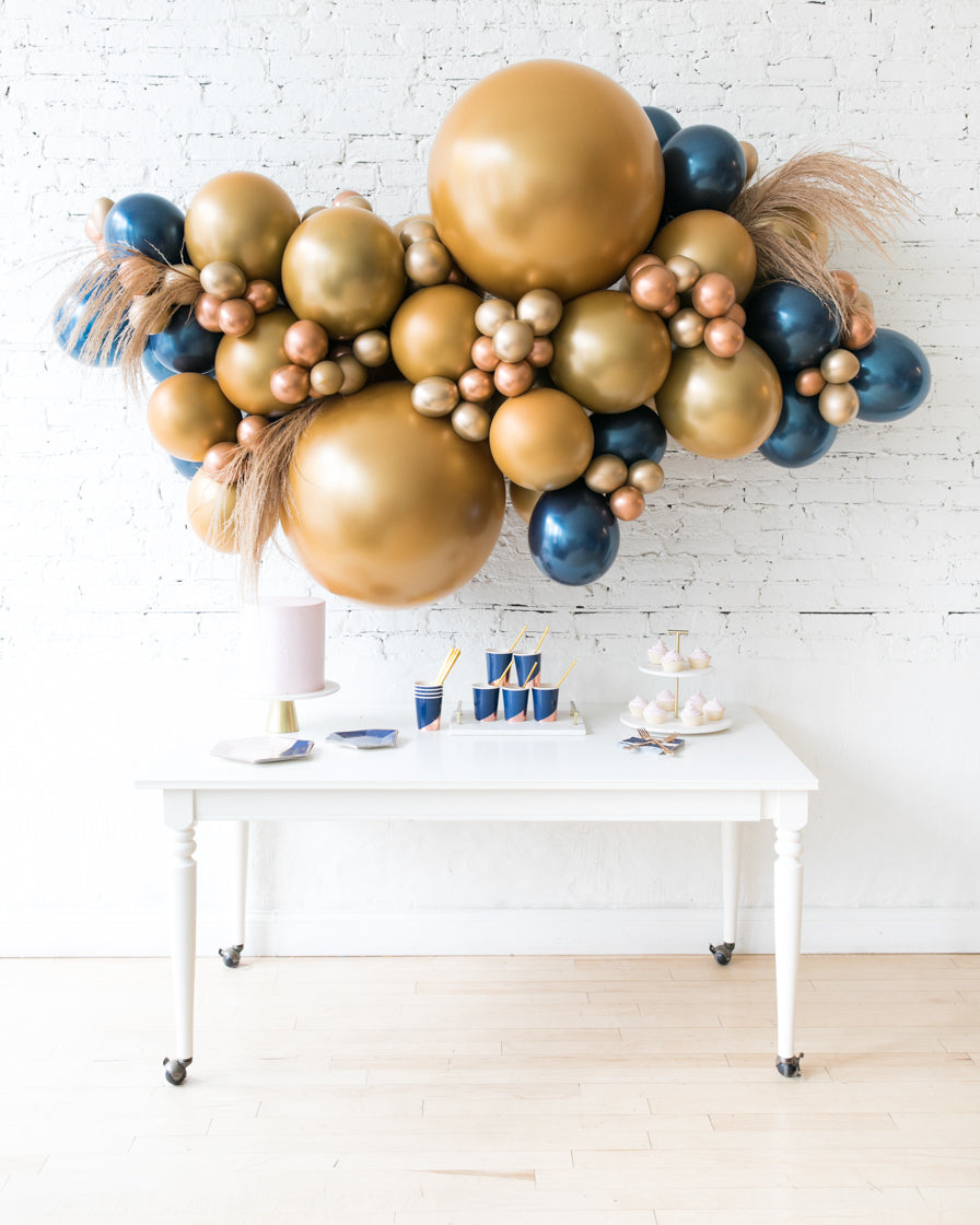Midnight Copper - Backdrop Balloon Garland Install Piece with Pampas Grass - 6ft