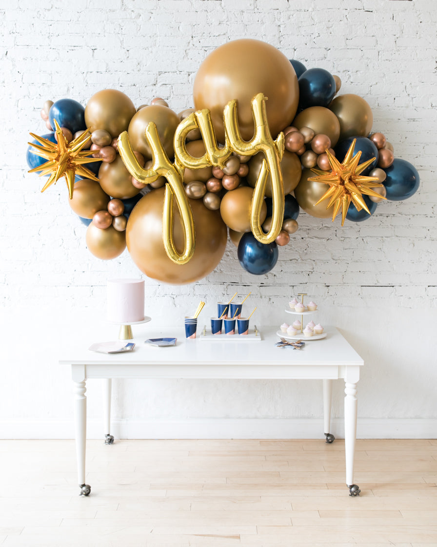 Midnight Copper - Yay Script Backdrop Balloon Garland Install Piece - 6ft