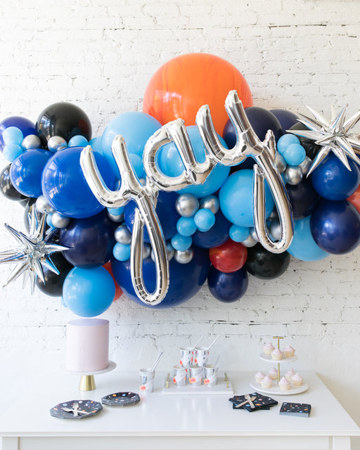 Space Theme - Yay Script Backdrop Balloon Garland Install Piece - 6ft