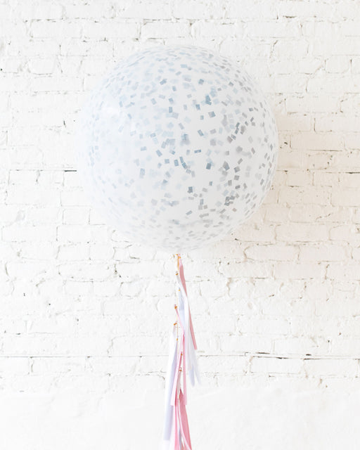 GIFT-Frosted Blue Giant Balloon and Gender Reveal Tassel