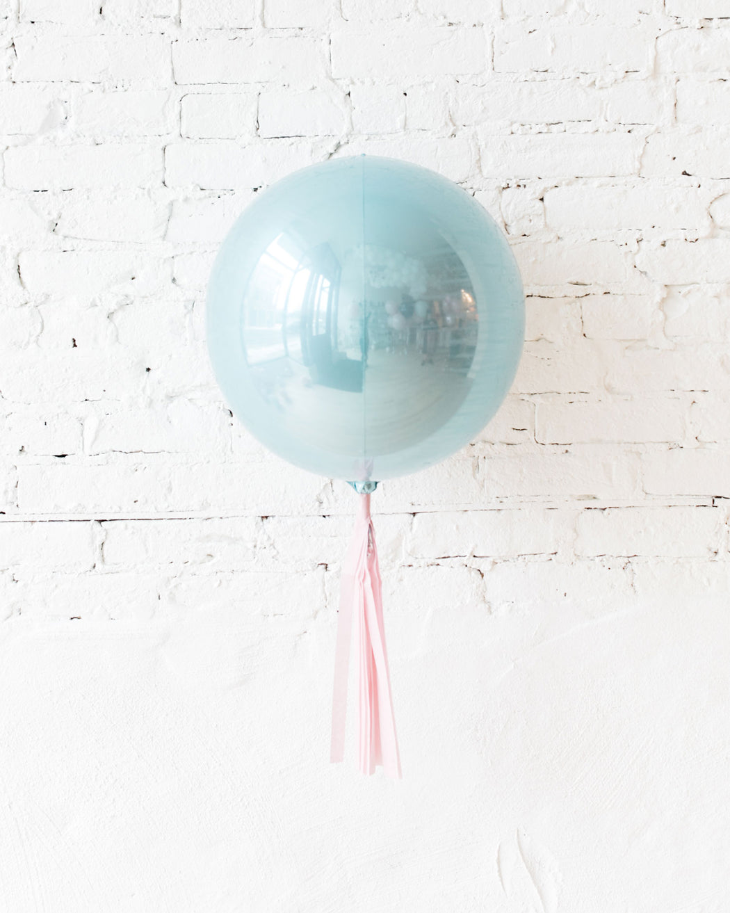 16in Pastel Blue Orb Foil Balloon with Pink Skirt Centerpiece