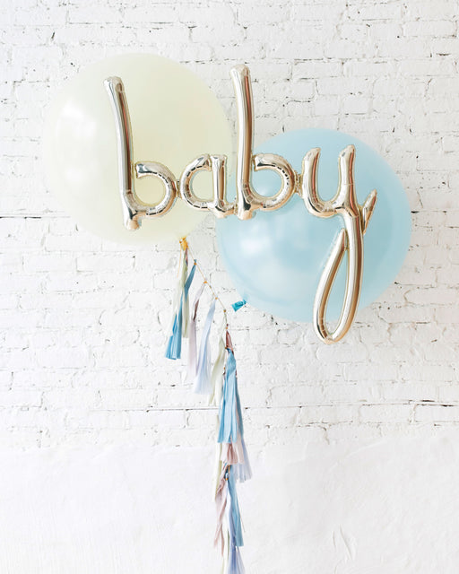 GIFT-Ivory & Light Blue Giant Baby Bouquet and Blush Tassel