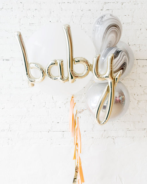 GIFT-Marble & White Giant Baby Bouquet and Blush Tassel