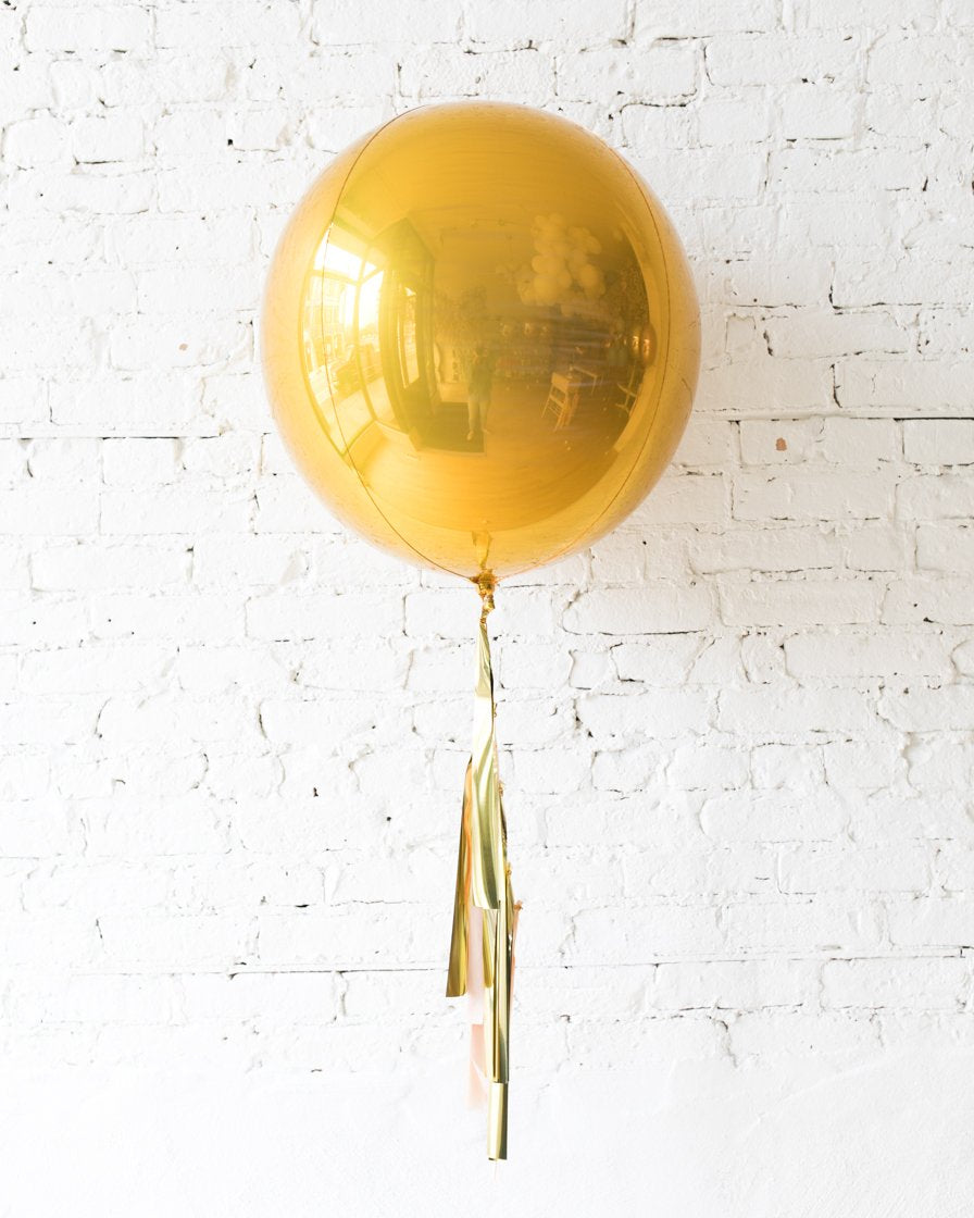 GIFT-21in Gold Orb Foil Balloon and Blush & Gold Half-Tassel