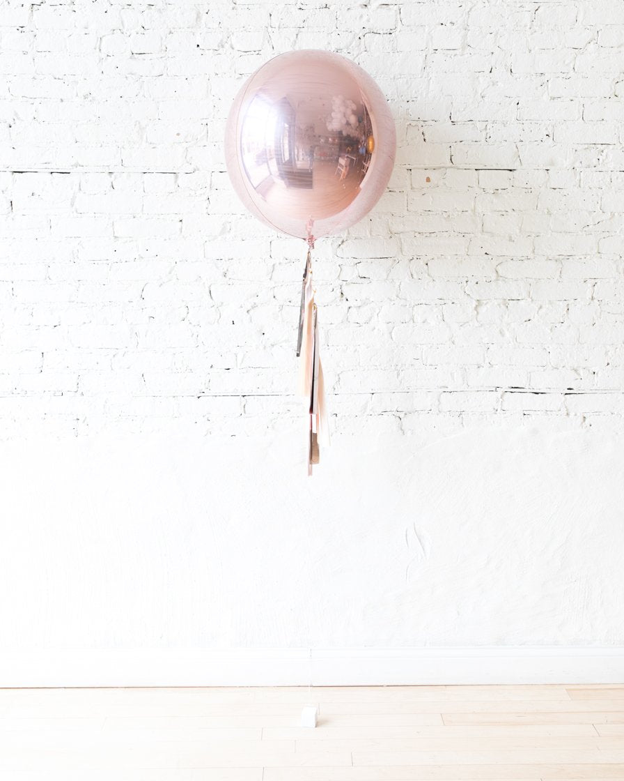 GIFT-21in Rose Gold Orb Foil Balloon and Blush, Mauve and Rose Gold Half-Tassel